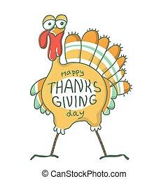 ptak, dziękczynienie, day., holiday., szczęśliwy, indyk