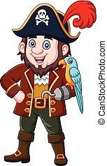 ptak, kapitan, ara, rysunek, pirat