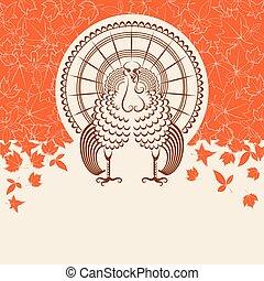 ptak, karta, indyk, dzień, tekst, dziękczynienie