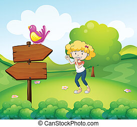ptak, kobieta, deska, strzała, taniec