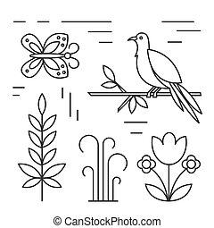 ptak, kreska, odizolowany, ilustracja, white.