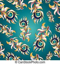 ptak, pierze, abstrakcyjny, wektor, seamless, pattern.