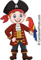 ptak, pirat, rysunek, kapitan, ara