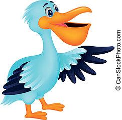 ptak, rysunek, pelikan, falować