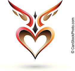 ptak, wektor, serce, podobny, czerwony, cień, pomarańcza, ...