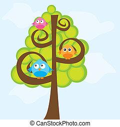 ptaszki, i, drzewo