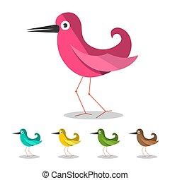 ptaszki, ikony, set., wektor, ptak, symbol, odizolowany, na białym, tło.