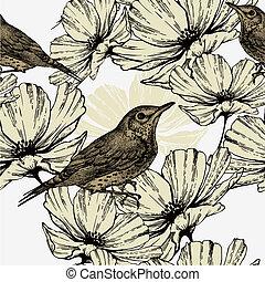 ptaszki, illustration., próbka, seamless, wektor, rozkwiecony, hand-drawing., kwiaty, śpiew