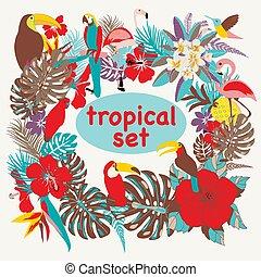 ptaszki, liście, tropikalny, dłoń, tło, kwiaty