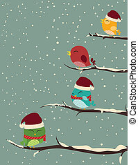 ptaszki, na, drzewa., zima scena