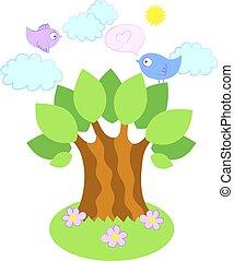 ptaszki, na, niejaki, drzewo, wektor, ilustracja