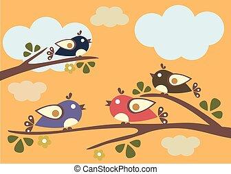 ptaszki, posiedzenie, na, drzewo, branches., wektor, illustration.