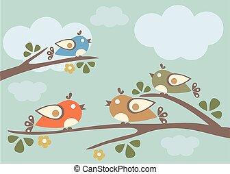 ptaszki, posiedzenie, na, gałęzie drzewa