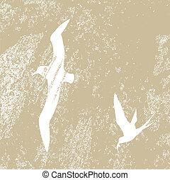 ptaszki, sylwetka, na, brunatne tło, wektor, ilustracja