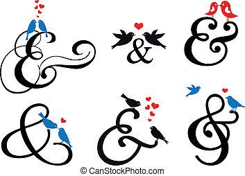 ptaszki, wektor, ampersand, znak