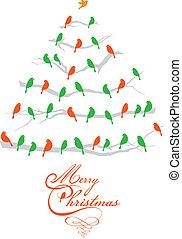 ptaszki, wektor, drzewo, boże narodzenie