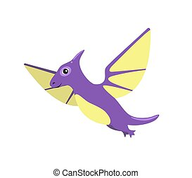 Pteranodon Dinosaur with Wings Vector Illustration