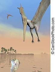 Pteranodon dinosaurs fishing - 3D render