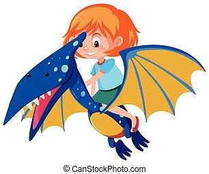pteranodon, paardrijden, meisje