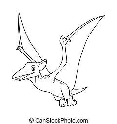 Pterodactyl Cartoon BW
