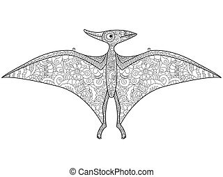 Pterodactyl dragon coloring vector for adults