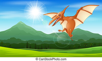 Pterodactyl flying under the sun