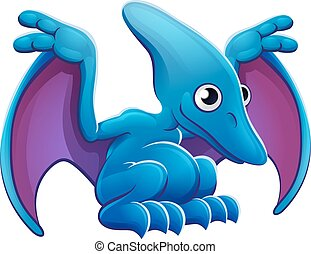 pterodactyl, mignon, voler, dessin animé, dinosaure