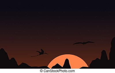 pterodactyl, silhouettes, coucher soleil, paysage