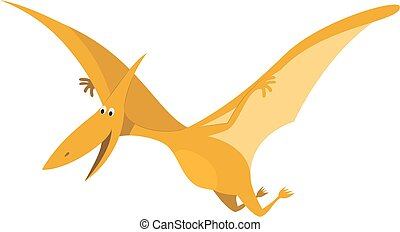 Pterodactyl vector illustration in cartoon style for kids. Dinosaurs Collection.