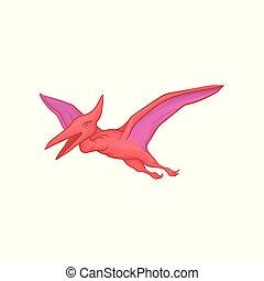 pterodactyl, wings., ancien, coloré, jurassique, plat, mobile, grand, vecteur, voler, caractère, préhistorique, dinosaure, jeu, rose, conception, action., reptile., dessin animé