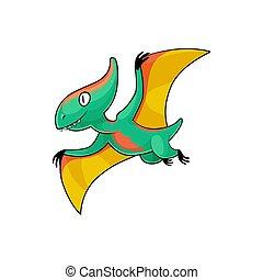 Pterodactylus cartoon flying dinosaur isolated