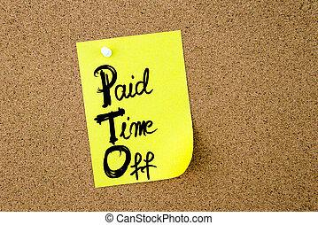 pto, desligado, negócio, acrônimo, pago, tempo