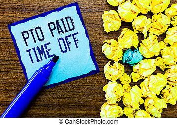 pto, nota, negócio, pessoal, foto, mostrando, pago, escrita, licença, compensação, concessões, tempo, showcasing, feriados, empregador, fora.