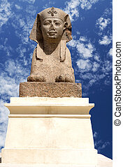 Ptolemaic Sphinx at Pompey's Pillar, Egypt - Image of...