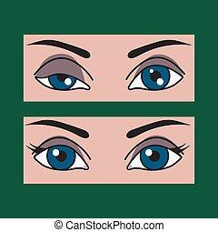 Ptosis, asymmetry of eyes - Ptosis of eyelid at woman, ...
