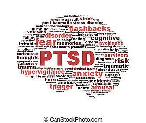 ptsd, 符號, 由于, a, 腦子, outline, 被隔离, 在懷特上, 背景