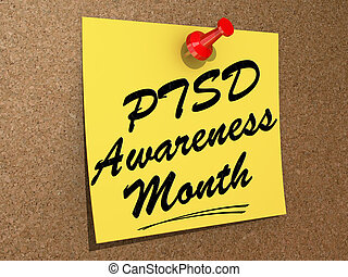 PTSD Awareness Month - A note pinned to a white background...