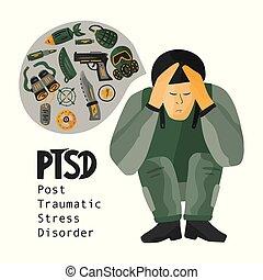 PTSD. Post traumatic stress disorder vector illustration. ...