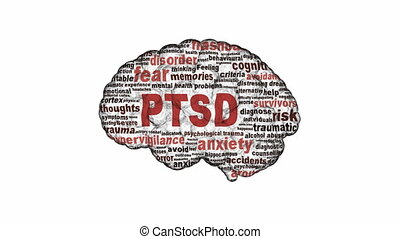PTSD symbol animation isolated on white background. Anxiety...
