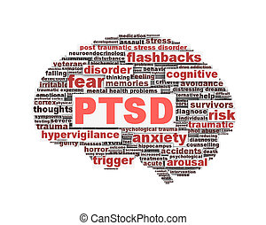 PTSD symbol conceptual design isolated on white background....