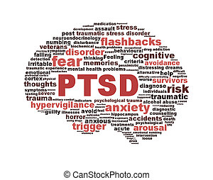PTSD symbol with a brain outline isolated on white...