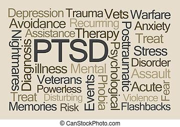 PTSD Word Cloud on Brown Background