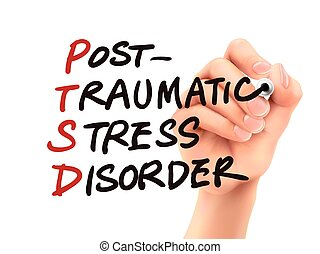 PTSD word written by 3d hand over white background