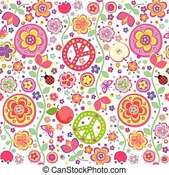puéril, papier peint, hippie