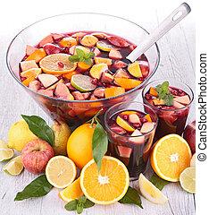 puñetazo, fruta, sangría