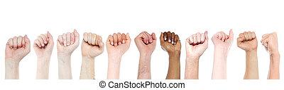 puños, apoyo, protesta, aislado, conceptos