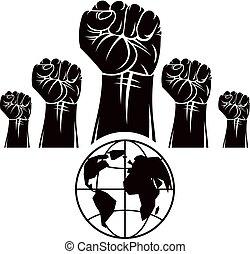 puños, compuesto, revolución, emblema, illustration., globo,...