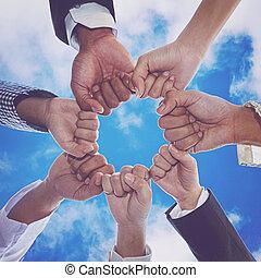 puños, gente, sociedad, juntos, diverso, manos