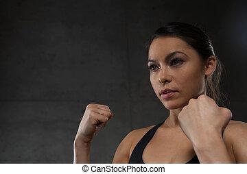puños, gimnasio, mujer, tenencia, lucha