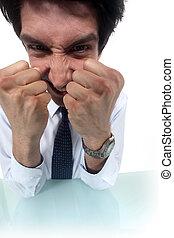 puños, hombre de negocios, el suyo, frustrado, Apretar